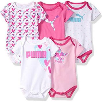 PUMA Pink Baby Girls 5 Pack Bodysuits