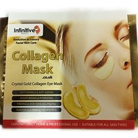 10 x Pack New Crystal 24K Gold Powder Gel Collagen Eye Mask Masks Sheet Patch, Anti Ageing Aging, Remove Bags, Dark Circles & Puffiness, Skincare, Anti Wrinkle, Moisturising, Moisture, Hydrating, Uplifting, Whitening, Remove Blemishes & Blackheads Product.