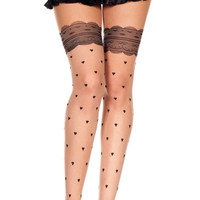 Sheer Pantyhose with Heart and Faux Lace Print