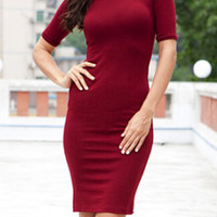 Wine Red Short Sleeve Midi Bodycon Dress