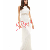 Cassandra Stone by Mac Duggal 1922A Intricate Detail Open Back Ivory Dress 2015 Prom Dresses