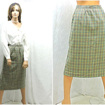 Vintage 70s plaid wool skirt / size M / 9 /10 / 1970s high waisted winter wool skirt / retro mod high waist wool skirt / SunnyBohoVintage