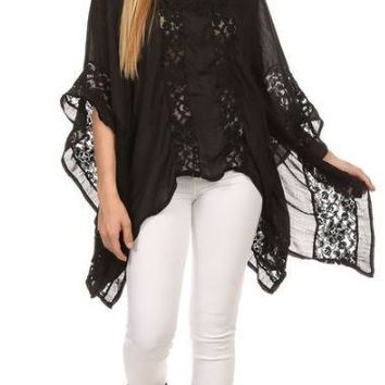 Lace Detail Flutter Sleeve Swing Top