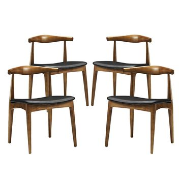 Tracy Mid-century Wood Dining Chair with Faux Leather Seat (Set of 4)