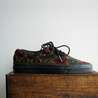 1980's Deadstock African Jamaican Abstract Black Yellow and Green Print Converse Chucks Creepers
