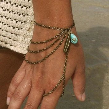 DCCKIX3 Bohemian Style Multi Chain Turquoise Bead Leaf Finger Ring Slave Bracelet = 1928541892