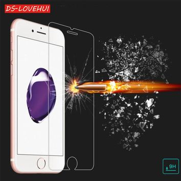 DS-LOVEHUI 9H tempered glass For iphone X 8 4s 5 5s 5c SE 6 6s plus 7 8 plus screen protector protective guard film case cover