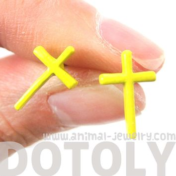 Classic Small Cross Shaped Stud Earrings in Yellow Enamel | DOTOLY