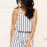 Vertical Stripe Strappy Cropped Vest & Tailored Shorts Co-ord Set in Soft Cream & Black