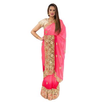 Pink Punch Pre-Pleated Ready-Made Sari