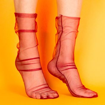 Gia Sheer Sock | Red