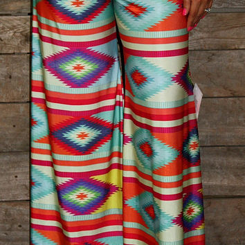 Never Look Back Colorful Aztec Palazzo Pants