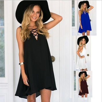 New Large Size Womens Chest Cross Solid Color Sleeveless Big Swing Chiffon Dress [9305595719]