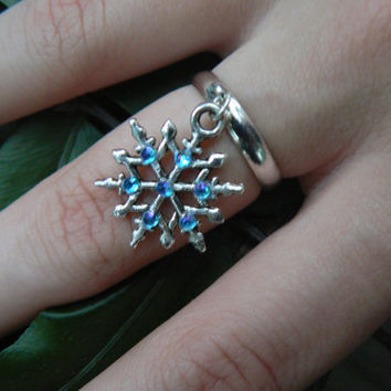 snowflake ring  snowflake aqua rhinestones in winter holiday christmas hipster boho gypsy fantasy  hippie style