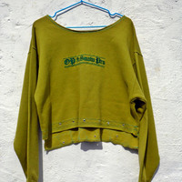 Lime Green OOAK Crop Jersey Sweater Crop Jumper Unique Urban Jumper Boyfriend Oversized Androgynous Jersey Jumper Sporty Street Style
