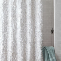 White Flower Power Shower Curtain