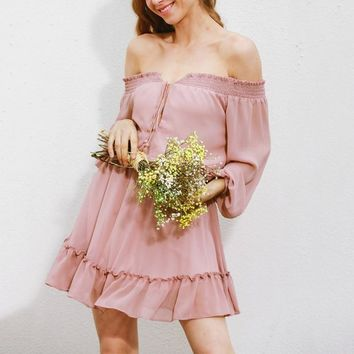 New Summer Short Chiffon Dress Women Off Shoulder Long Lantern Sleeve Solid Dress Ruffles Slash Neck Vestido