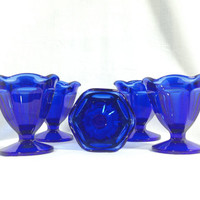 Vintage Cobalt Blue Desert Cups Anchor Hocking Fountainware set of 5 Retro Mid Century Modern Kitchen Glassware