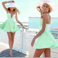 NEW Sexy Seafoam Green Deep Plunge Dress Small 2 Day Free Shipping