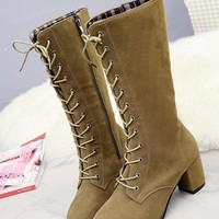 New Women Khaki Round Toe Chunky Zipper Fashion Mid-Calf Boots
