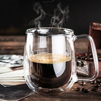 Heat Resistant Double Wall Layer Clear Glass Tea Coffee Cups Mug