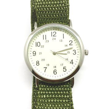 Stainles Steel Wrist Watch w/ Green Camo Velcro Bands