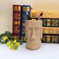 Easter Island Moai Pen Pencil Holder Container
