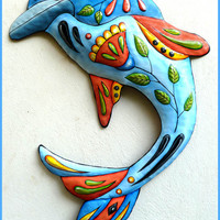 Dolphin - Hand Painted Metal Wall Hanging - Tropical Decorating - Metal Art - 32""