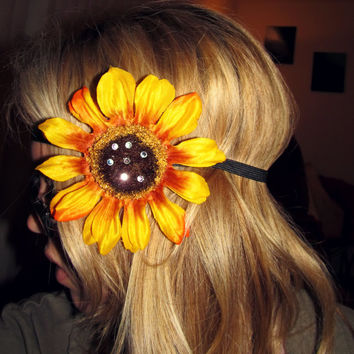 Flower Sunflower Headband // Black Elastic // EDC // EDM // Festival // Adult Size