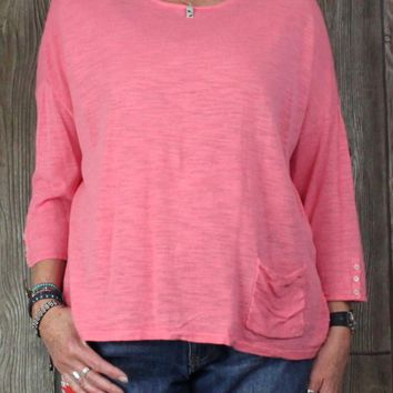 J Jill XL size Linen Top Pink Career Casual Womens Blouse Loose Fit Lightweight