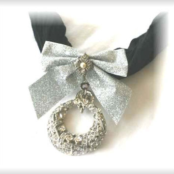 Up Cycled Black Bling Scarf With Additional Bow  And Silver Faux Pearl Glitter Brooch To Wear Out On A Special Dinner Date