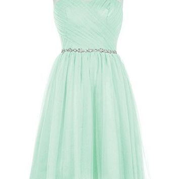Short Prom Bridesmaid Dress Illusion Sweetheart Beaded Cocktail Gown