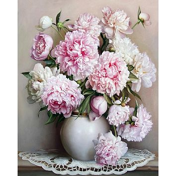 Frameless Pink Europe Flower DIY Painting By Numbers Acrylic Paint By Numbers Hand Painted Oil Painting On Canvas For Home Decor