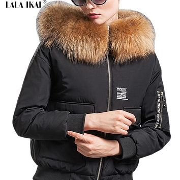 Short Hooded Women's Winter Jacket Raccoon Fur Collar Parka Woman 2016 New 3D Print Solid Down Coat Female Windbreaker SWJ0155-5
