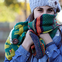 Boho Chunky Scarf- Christmas , Reindeer, Winter Scarf, Colorful , Knitted, Wood Buttons, Leather, Red ,Muffle ,Shawl Green , Yellow