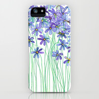 Purple Daisies in Watercolor & Colored Pencil iPhone & iPod Case by micklyn | Society6