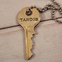 """TARDIS"" KEY - Doctor Who - Whovian necklace"