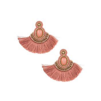 Tassel mix jewel stone dangle earring