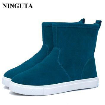 women  Genuine Leather ankle suede snow boots