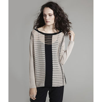 Almond Cotton Boatneck T-Bar Tunic
