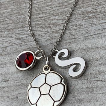 Girls Soccer Necklace with Birthstone & Letter Charm