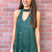 Perfect Holiday Suede Dress - Olive