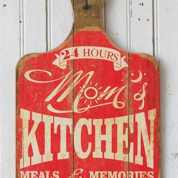 Mom's Kitchen Meals & Memories Made Here Retro Cutting Board