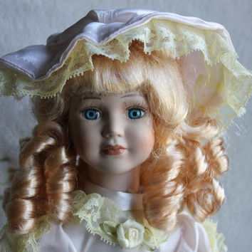 "Blond Porcelain Doll, 16"" with Stand, Ivory White Dress and Hat with Lace, Vintage"