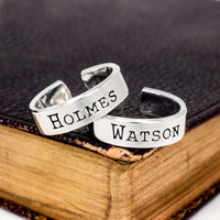 Holmes and Watson Ring Set - Best Friends - Sherlock Holmes - Friendship Rings