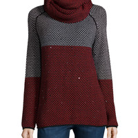 Birdseye-Knit Sweater W/ Removable Scarf, Size: