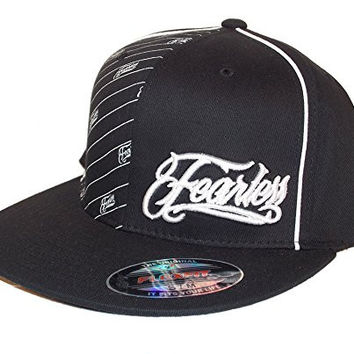 Fearless Pinhead Men's Flat Bill Pinstripe Hat Cap Black L/XL