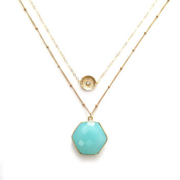 Hexagon Necklace, Blue Necklace, Gold Layer Necklace, Turquoise Necklace, Aqua Chalcedony Necklace, Gemstone Necklace, Gold Necklace