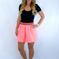 Preppy Stripes Skirt: Pink