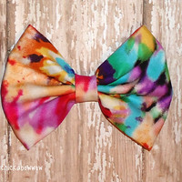 Oversized Tye Dye Hair Bow - Retro Style Bow for Girls, Teens